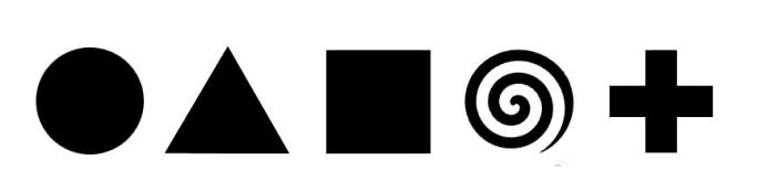 在圆形丶三角形丶四方形丶螺旋形丶十字形以下的5个图形,它们各代表着